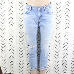 Zara Premium Denim Distressed Skinny Jeans Size 2